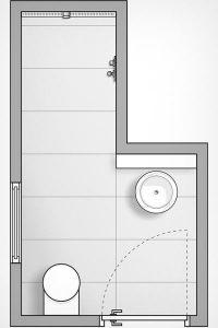 Die Dusche in der Nische wird Teil des gesamten Raumes. So wirkt das kleine Bad großzügig.